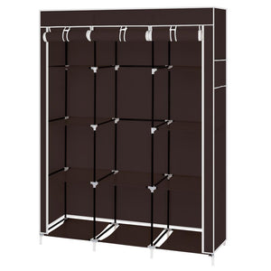 "67"" Portable Closet Organizer Wardrobe Storage Organizer with 10 Shelves Quick and Easy to Assemble Extra Space Dark Brown"