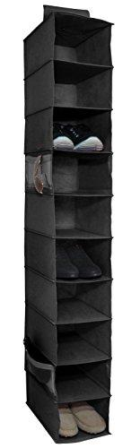 10-Shelf Hanging Shoe Closet Organizer, Black