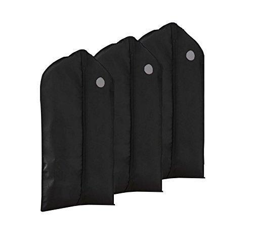Heavy duty garment bags suit bags with clear window for clothes storage and travel hanging suit uniform dance costumes dress and other important garments 3 pack black 128cm x 60cm 50 4x 23 6in