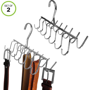 Evelots Tie, Belt, Scarf, Jewelry Rack-Hanger-Organizer-Chrome-28 Hooks