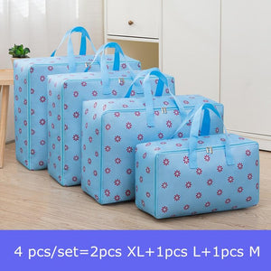 4 pcs/set Large Capacity Oxford Storage Bag M+L+2Pcs XL Closet Organizer For Quilt Cloth Travel Luggage Waterproof Container