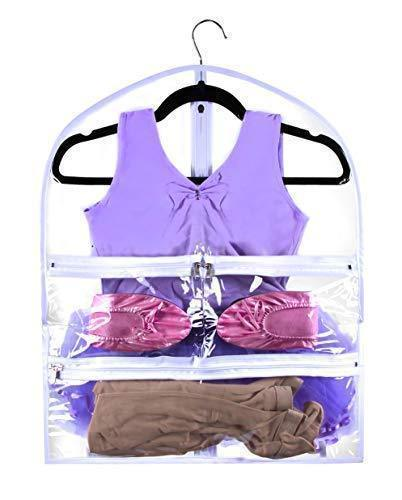 Organize with small clear dance garment bag 19 inch x 24 inch suit dress and costumes hanging travel storage for clothes shoes and accessories water resistant organizer