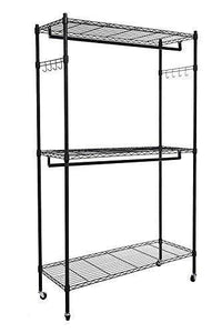 Explore modrine double rod garment rack 3 tiers heavy duty hanging closet with lockable rolling wheels 2 side hooks and 2 clothes rods black