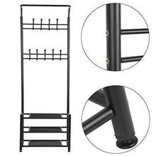 Load image into Gallery viewer, Budget moorecastle multi purpose entryway shoes storage organizer hall tree bench with coat rack hooks clothes stand perfect home furniture