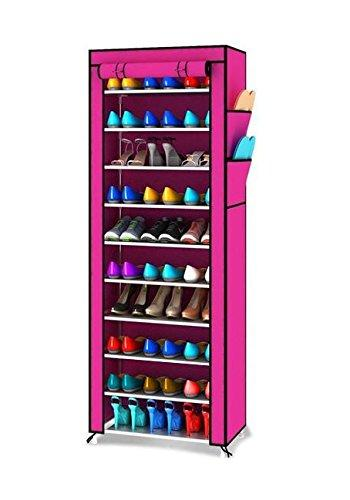 10 Tiers Portable Shoes Rack with Dust Proof Cover Shelf Storage Closet Organizer Cabinet Shoe Racks, Pink (Pink)