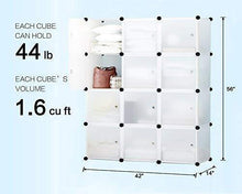Load image into Gallery viewer, Online shopping kousi storage storage cubes storage shelves clothes storage room organizer storage shelves shelves for storage cubby shelving cube storage bookshelf transparent white 12 cubes storage