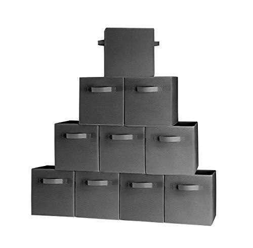 (10-Pack, Black) Durable Foldable Storage Cubes with two Handles, ideal for Shelves Baskets Bins Containers Home Decorative Closet Organizer Household Fabric Cloth Collapsible Box Toys Storages Drawer