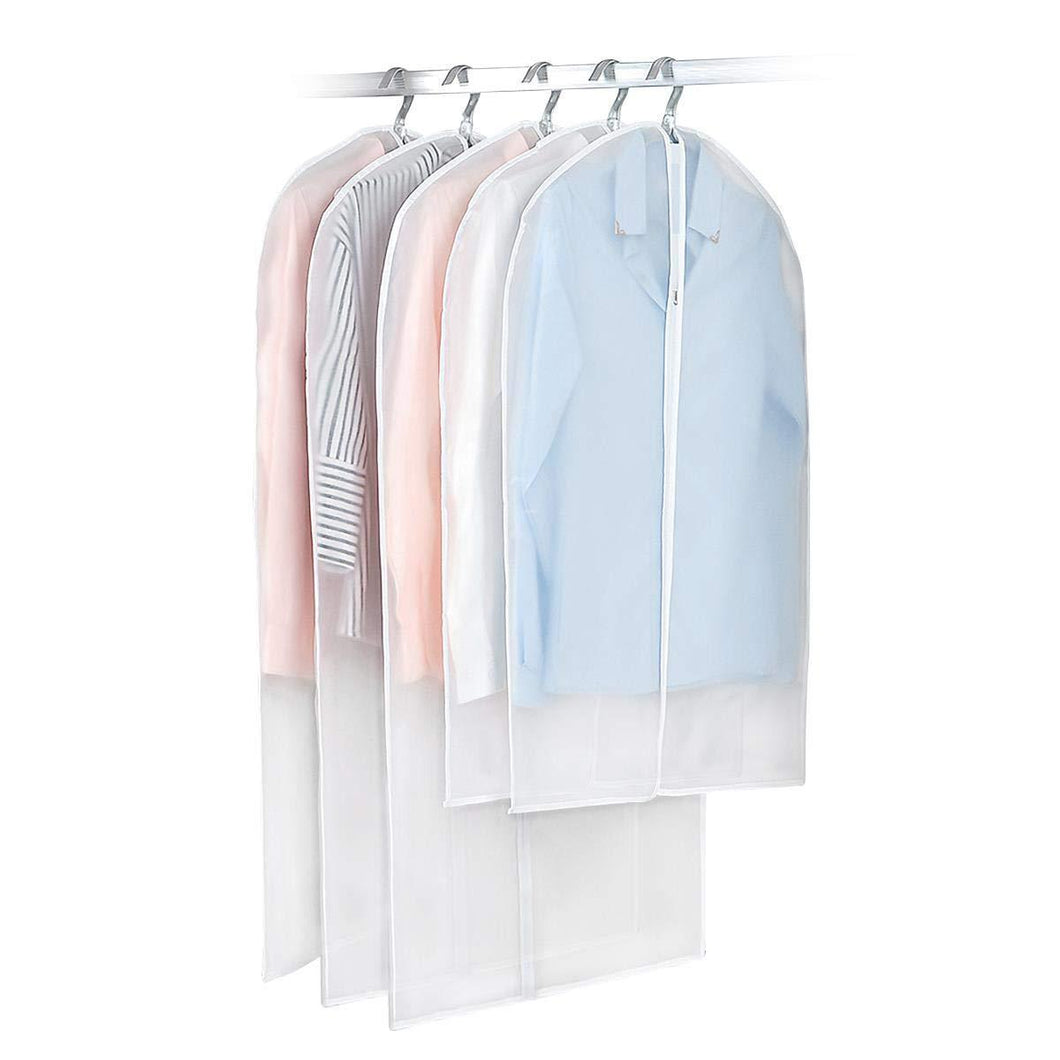 Products monojoy garment bags for storage moth proof hanging clear clothes organizer with zipper dust covers closet translucent wardrobe suit coat peva thicken 5 pack 3medium 2small