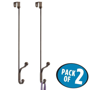 Save on mdesign metal modern long easy reach over the door storage organizer rack hang coats hoodies hats scarves purses leashes towels robes clothing 17 tall 2 hooks 2 pack bronze