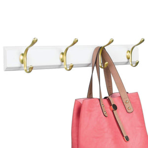 Save mdesign decorative wood wall mount storage organizer rack for coats hoodies hats scarves purses leashes bath towels robes men and womens clothing 8 metal hooks 2 pack white gold brass
