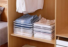 Load image into Gallery viewer, Get closet mess killer l foldable stackable folded t shirt clothing organizer l fold sort laundry system l for drawers dresser shelves suitcase wardrobe cabinets l large jeans pants pack of 5