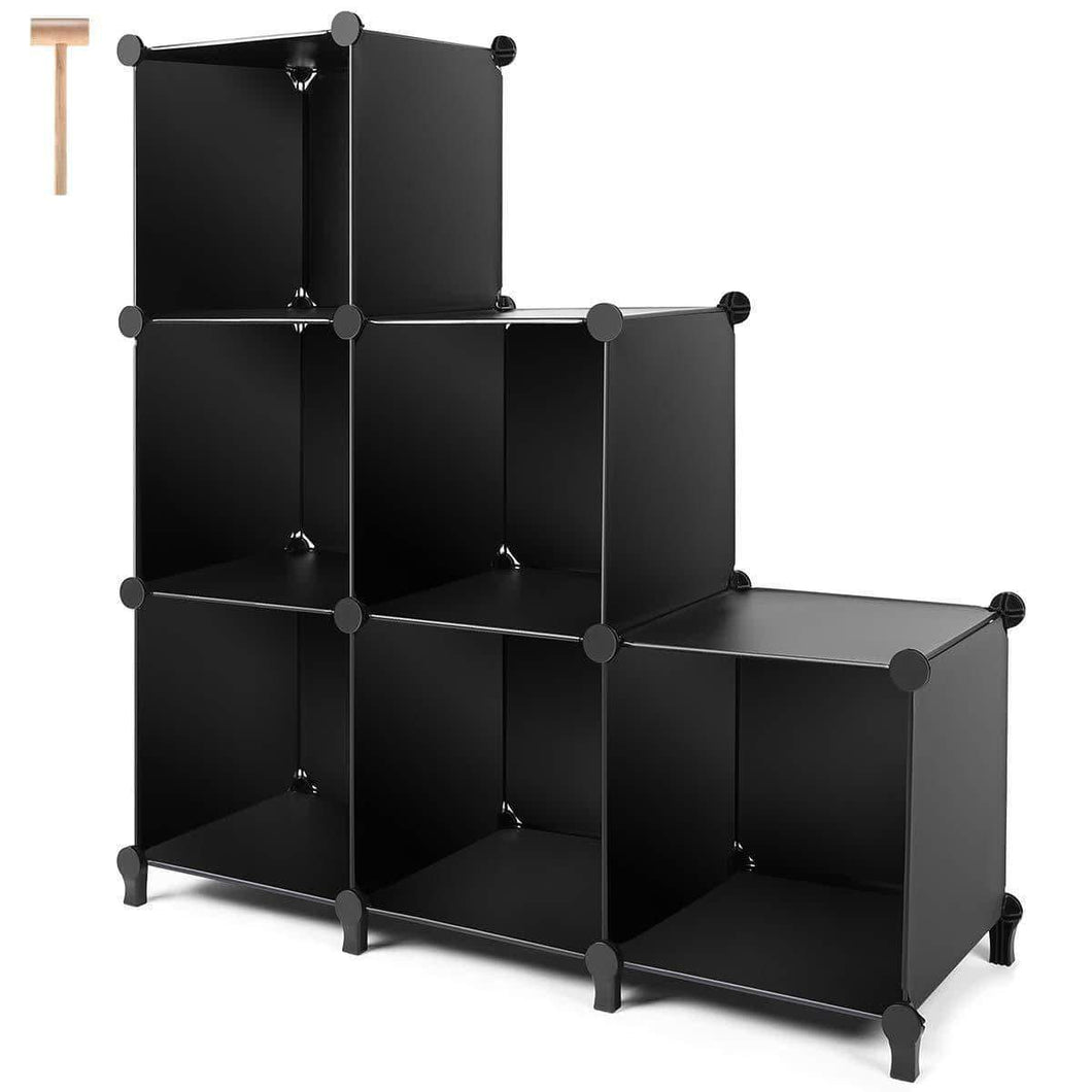 Cube Storage 6-Cube Bookshelf Closet Organizer Storage Shelves Cubes Organizer Plastic Bookcase for Bedroom Living Room Office, Black