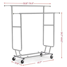 Load image into Gallery viewer, The best yaheetech commercial grade garment rack rolling collapsible rack hanger holder heavy duty double rail clothes rack extendable clothes hanging rack 2 omni directional casters w brake 250 lb capacity