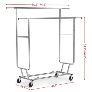 The best yaheetech commercial grade garment rack rolling collapsible rack hanger holder heavy duty double rail clothes rack extendable clothes hanging rack 2 omni directional casters w brake 250 lb capacity