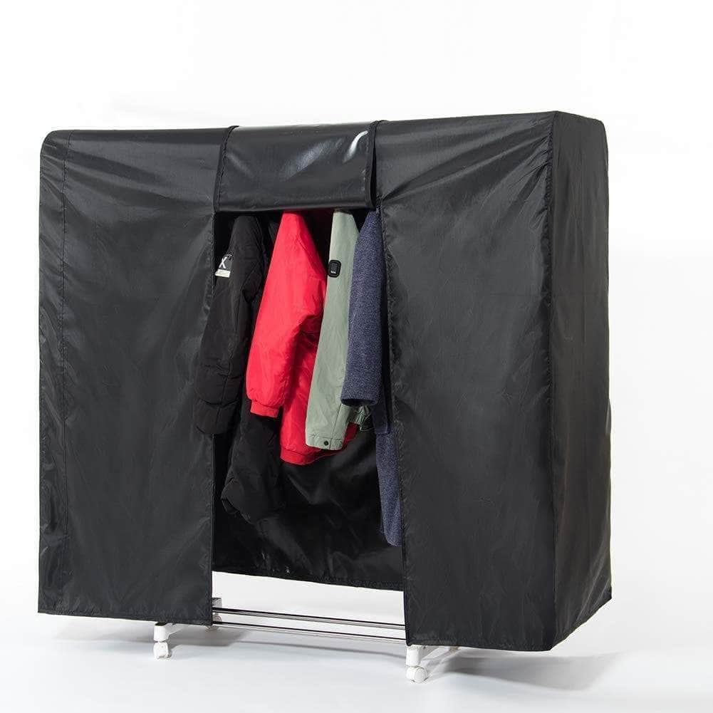 Best seller  garment rack cover 59 large rolling rack cover only heavy duty z rack cover with 2 full strong zipper black wardrobe clothing rack cover clothes storage cover for dance costumes dress suits