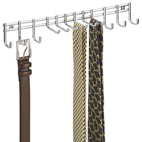 Bochens Closet Wall Mount Metal Accessory Organizer and Storage Center - Modern Slim Holder for Women and Men Ties, Belts, Scarves, Sunglasses, Watches