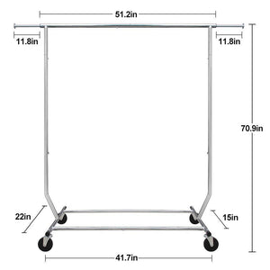 Shop here camabel clothing garment rack heavy duty capacity 300 lbs adjustable rolling commercial grade steel extendable hanger drying organizer chrome finish storage shelf with wheels load up to 300lbs