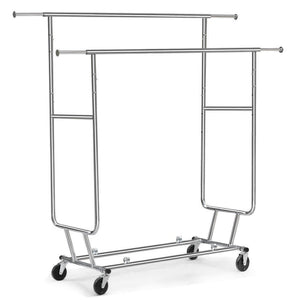 Top yaheetech commercial grade garment rack rolling collapsible rack hanger holder heavy duty double rail clothes rack extendable clothes hanging rack 2 omni directional casters w brake 250 lb capacity