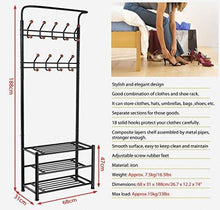 Load image into Gallery viewer, Cheap world pride metal multi purpose clothes coat stand shoes rack umbrella stand with 18 hanging hooks max load capicity up to 67 5kg 148 8lb 26 7 x 12 2 x 74 black