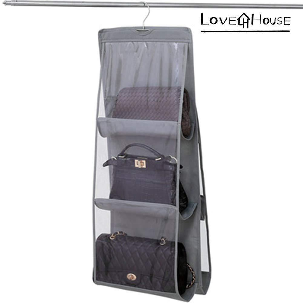Love In The House Hanging Handbag Purse Organizer Household Wardrobe Closet Organizer Hanging Storage Bag 6 Large Storage Pockets (Grey, 36''x14''x14'')