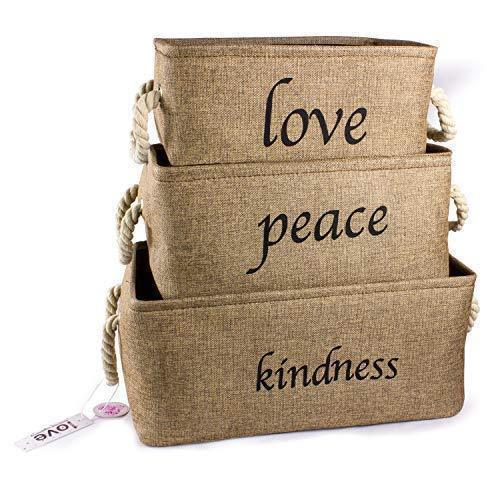 Lilly's Love Storage Baskets Organizer Set, 3 Pack Burlap Nesting - Popular Canvas Storage Bins for Closet, Kitchen or Bathroom Organizing
