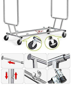 Storage yaheetech commercial grade garment rack rolling collapsible rack hanger holder heavy duty double rail clothes rack extendable clothes hanging rack 2 omni directional casters w brake 250 lb capacity