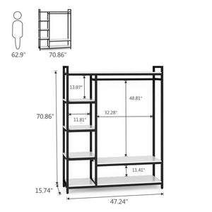 Amazon little tree free standing closet organizer heavy duty clothes rack with 6 shelves and handing bar large closet storage stytem closet garment shelves