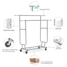 Load image into Gallery viewer, Storage organizer topeakmart commercial grade adjustable double rail clothing hanging rack on wheels rolling garment rack drying rack w wheels chrome finish