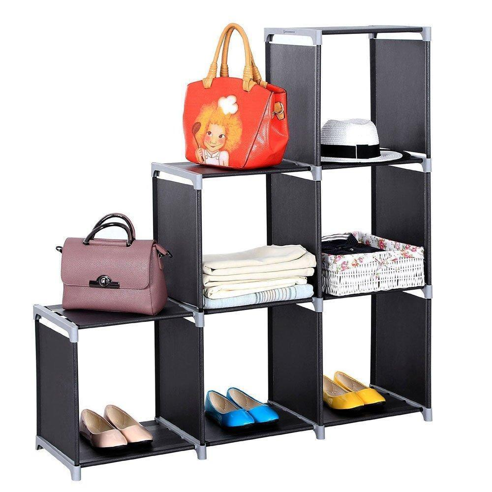 Multifunctional Assembled 3 Tier 6 Compartment Storage Cube Closet Organizer Shelf 6 Cubes Bookcase Storage Black (6 Cubes)