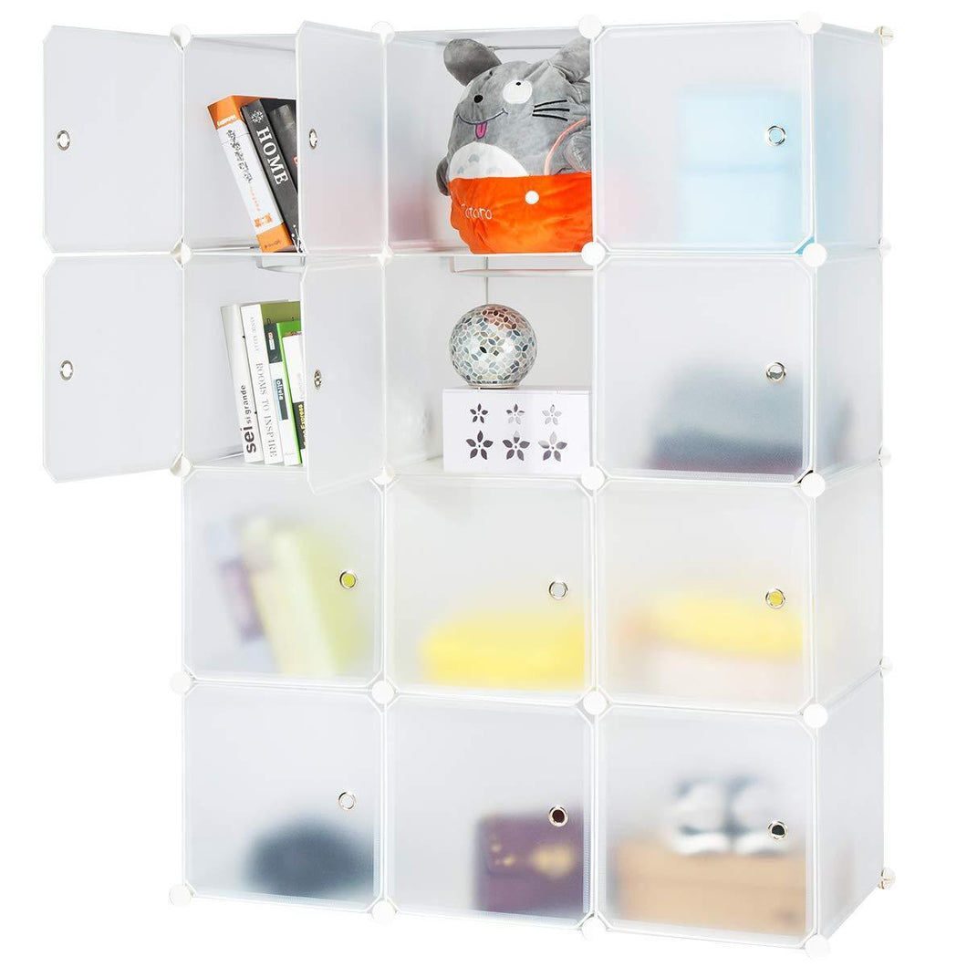 Honey Home Modular Storage Cube Closet Organizers, Portable Plastic DIY Wardrobes Cabinet Shelving with Easy Closed Doors for Bedroom/Office/Kitchen/Garage - 12 Cubes White