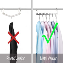 Load image into Gallery viewer, Select nice bloberey space saving hangers metal wonder magic cascading hanger 10 inch 6 x 2 slots closet clothing hanger organizers pack of 20