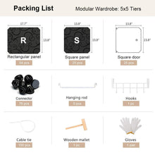 Load image into Gallery viewer, Save yozo modular wardrobe clothes closet plastic dresser multi use portable cube storage organizer bedroom armoire 25 cubes depth 18 inches black