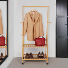 Load image into Gallery viewer, Shop for songmics rolling coat rack bamboo garment rack clothes hanging rail with 2 shelves 4 hooks for shoes hats and scarves in the hallway living room guest room
