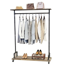 Load image into Gallery viewer, The best industrial pipe clothing rack on wheels vintage rolling rack for hanging clothes retail display clothing racks with shelves wooden garment rack with wheels heavy duty clothes rack cloths coat rack