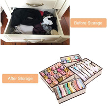 Load image into Gallery viewer, Save aitmexcn closet underwear organizer foldable storage box drawer divider kit for socks panties bra ties clothing set of 4 beige