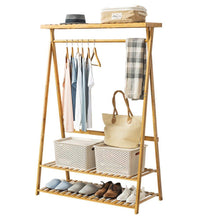 Load image into Gallery viewer, Discover the best copree bamboo garment coat clothes hanging heavy duty rack with top shelf and 2 tier shoe clothing storage organizer shelves