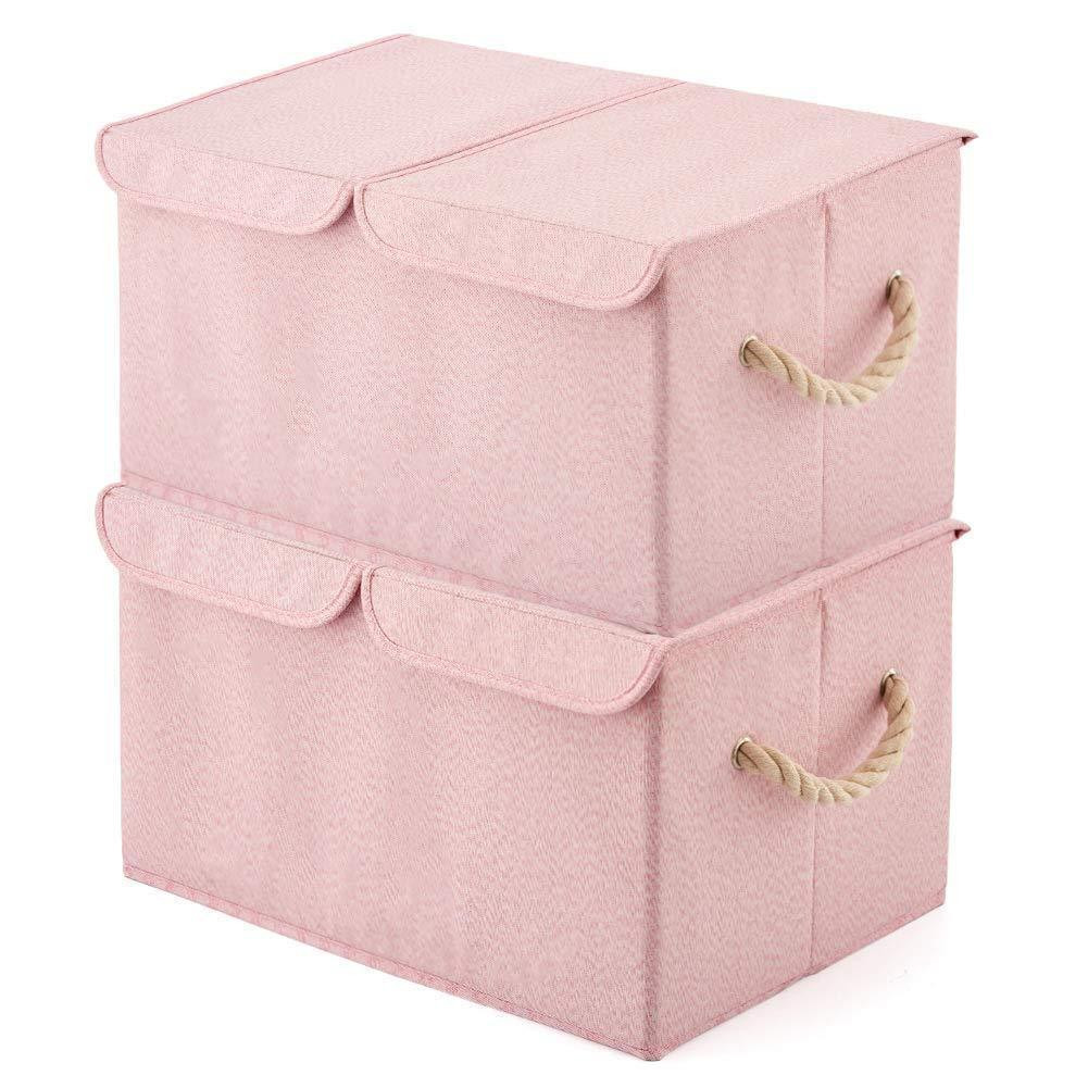 EZOWare Large Storage Boxes [2-Pack] Large Linen Fabric Foldable Storage Cubes Bin Box Containers with Lid and Handles for Nursery, Children, Closet, Bedroom, Living Room - Pink