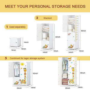 The best kousi kids dresser kids closet portable closet wardrobe children bedroom armoire clothes storage cube organizer white with cute animal door safety large sturdy 10 cubes 2 hanging sections