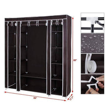 Load image into Gallery viewer, Buy amashion 69 5 tier portable clothes closet wardrobe storage organizer with non woven fabric quick and easy to assemble dark brown