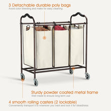 Load image into Gallery viewer, Great bbshoping organizer laundry hamper cart dirty clothes organibbshoping zer for bathroom bedroom utility room powder coated beige