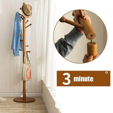 Load image into Gallery viewer, Shop for sweet honey cloth hanger rack stand tree hat hanger holder free standing solid wood coat rack floor hanger for bedroom living room hall 10 hooks r 47x175cm19x69inch