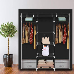 "Hello22 69"" Closet Organizer Wardrobe Closet Portable Closet Shelves, Closet Storage Organizer with Non-Woven Fabric, Quick and Easy to Assemble, Extra Strong and Durable, Extra Space"
