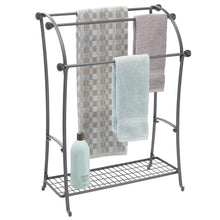 Load image into Gallery viewer, Products mdesign large freestanding towel rack holder with storage shelf 3 tier metal organizer for bath hand towels washcloths bathroom accessories graphite gray