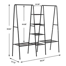 Load image into Gallery viewer, Amazon best metal garment rack heavy duty indoor bedroom clothing hanger with top rod and lower storage shelf clothes rack with 1 tier shelves black
