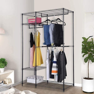Budget friendly s afstar safstar heavy duty clothing garment rack wire shelving closet clothes stand rack double rod wardrobe metal storage rack freestanding cloth armoire organizer 1 pack