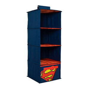 Superman 4 Shelves Clothing Closet and Bedroom DC Comics Towel Accessory Storage, Collapsible Hanging Organizer