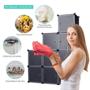 Great robolife 12 cubes organizer diy closet organizer shelving storage cabinet transparent door wardrobe for clothes shoes toys