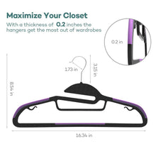 Load image into Gallery viewer, Order now sable 60 pack plastic clothes hangers space saving ultra thin with 10 finger clips non slip heavy duty s shape for tight collars 6 colors for shorts pants shirts scarves