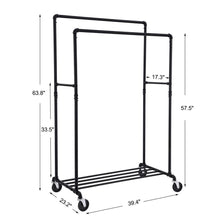 Load image into Gallery viewer, Best seller  songmics industrial pipe double rail wheels with commercial grade clothing hanging rack organizer for garment storage display black uhsr60b