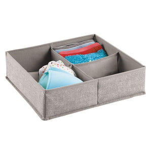 Discover mdesign soft fabric dresser drawer and closet storage organizer bin for lingerie bras socks leggings clothes purses scarves divided 4 section tray textured print 2 pack linen tan